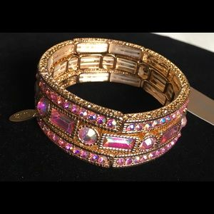 Natasha Couture 3 Piece Set Pink Crystal Bracelet